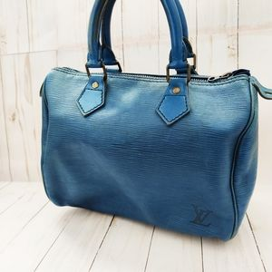 Louis Vuitton authentic vintage blue leather handbag speedy 25